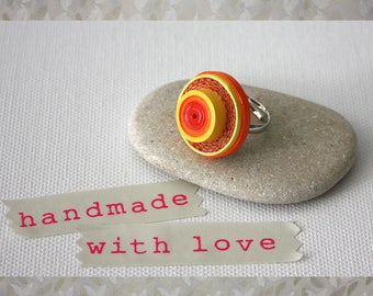 Paper jewellery. Paper ring. Eco friendly jewelry. Orange adjustable ring.