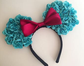 Aqua & Burgundy Floral Ears