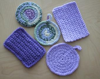 Multi-purpose Eco Tawashi wash cloth and sponge set of 5