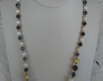 Snowflake, Goldstone, White Jade Beaded Necklace