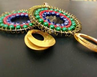 Handmade metal and beads earrings