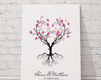 "wedding fingerprint tree guestbook wedding confirmation ""Heart tree"" on canvas"