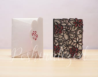 Floral Wedding Invitations with Custom Envelope