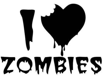 I Love Zombies Horror Vinyl Car Decal Bumper Window Sticker Any Color Multiple Sizes