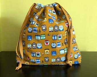 Handmade drawstring bag / pouch for knitting crochet project 26 x 21 x 7.5 cm *Railhead*