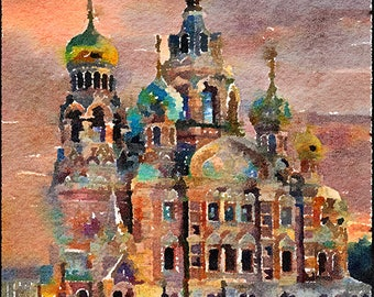 Church of the Savior on Blood Russia Original Watercolour Painting Q255