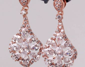 Rose gold crystal drop bridal earrings