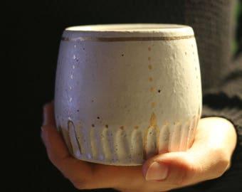 Tilak Tumblers - Ceramic Glass - Pottery - Hand Carved - Gold Lustre