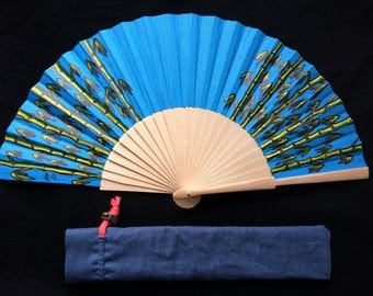 hand painted wooden fan 23cm long