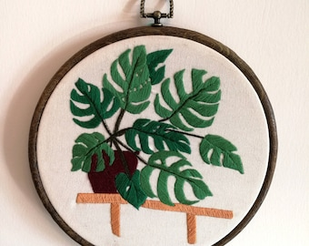 cactus embroidery/Monstera in room / cacti creations/ succulents and cacti design/home decoration