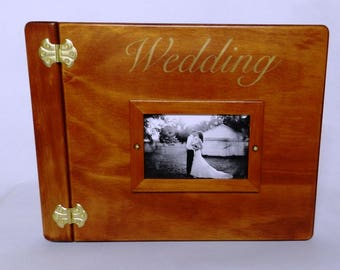 Wooden Wedding Album, Medium Plain with engraving and Photo Frame