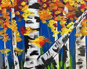 Autumn Birches, 11X14 Acrylic on Canvas Painting