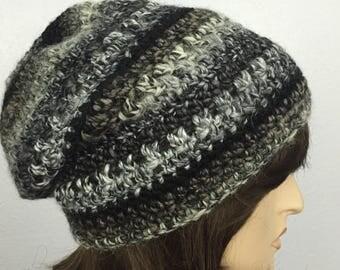 Women Crochet Hat Women Slouchy Hat in Gray and Black Winter Accesssories Fall Fashion