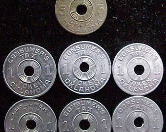 Vintage OKLAHOMA tokens LOT of 7 for Tax and Old Age Pensions