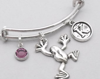 Climbing frog vintage style initial charm bracelet | frog initial bangle | personalised frog bracelet | frog jewelry | frog gift