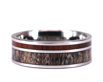 Antler And Koa Wood Mens Wedding Ring 9mm Antler Ring Antler Band Wood Ring Titanium Mens Band Rings By Pristine