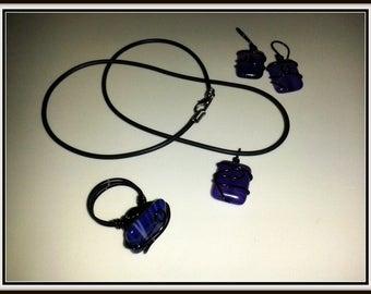 Purple Stripe Agate Jewellery Set/Necklace/Ring/Earrings/Black Wire