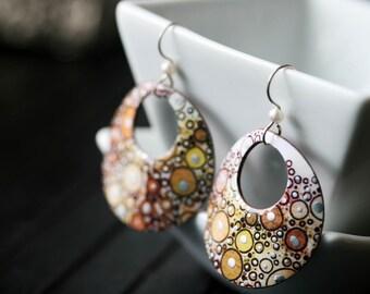 Brown Circle Dangle Earrings - Medium
