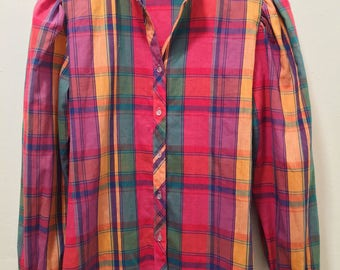 Vintage Colorful Plaid Long-Sleeve Women's Shirt
