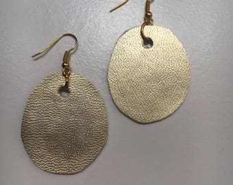 Gold leather earring