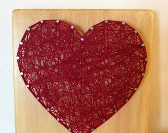 Red Heart - string art picture