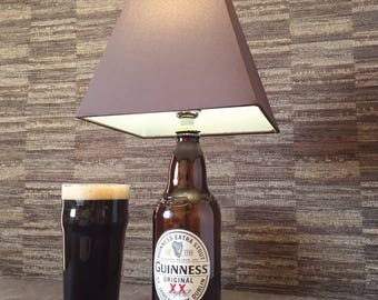 Guinness Beer Bottle Lamp With Brown Shade Upcycled