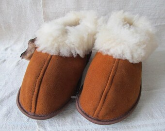 New! Leather handmade women's slippers sheepskin boots inside with wool rubber sole very warm