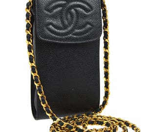Chanel,Vintage,Authentic,cc,Logos,chain,shoulder,bag,pochette,navy,phone case,leather,caviar skin,yg00286
