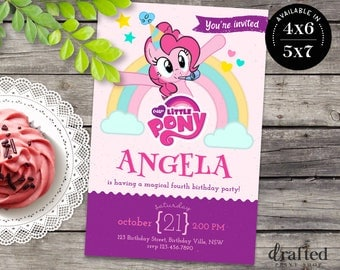 My Little Pony Invitation, My Little Pony Birthday, My Little Pony Party, Little Pony Printable Invites, Pinkie Pie, Little Pony Themes