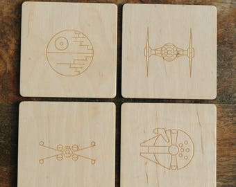 Cup coaster with star wars ships