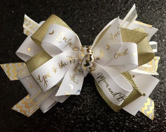 """Gold & White Love 5"""" Bow with Gator Clip"""
