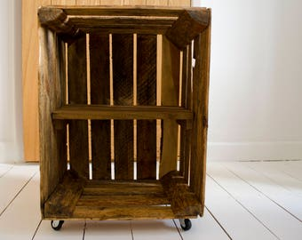 Reclaimed Wooden Crate Bedside Table with shelf