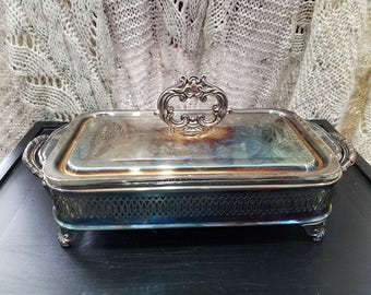 Vintage FireKing 1qt Glass Dish with Beautiful Ornate Silver Plated Server