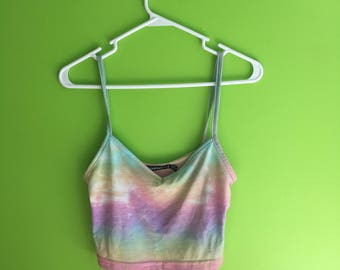 XS/S Tie Dye Crop Top--Handmade--Gradient Tie Dye--Rainbow--Festival Fashion