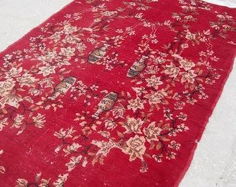 Oushak Rug,Vintage Turkish Rug, Oushak  Rose Pattern Rug,Colored Floor Rug,Home Living,Area Rug,Turkish Carpet,120x 205cm,Oushak Carpet,