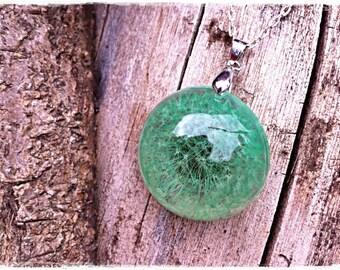 Bright pendant, Green dandelion, Large dandelion, Dandelion pendant, Long pendant, Necklace dandelion, Dandelion seeds, Colored Dandelion