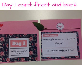 A set of 21 motivated cards to keep you stick to your 21 days plan