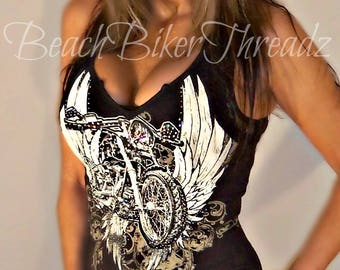 Sexy Black Ivory Split Neck Low Cut MOTORCYCLE Angel WINGS LACE Sleeveless Tank Top Biker Bike Week