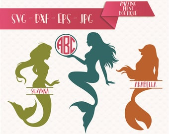 Mermaid Monogram SVG, Mermaid Hair SVG, Silhouette File, svg File, Circle and Split Monogram cut file, Mermaid SVG, Lilttle mermaid cut file