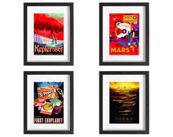 NASA Visions Future vintage print collection | 4 artwork prints | Use in IKEA frame | Looks great framed for gift | Free Shipping | #2