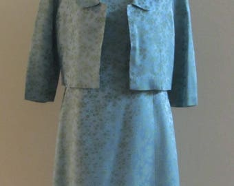 Stunning Vintage Early 70s Teal Brocade 4 pc Dress Suit