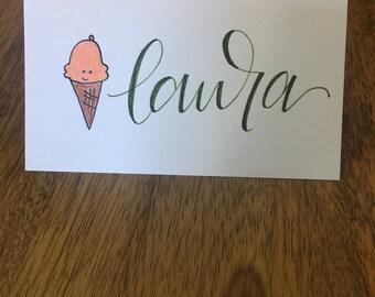 Personalized Ice Cream Cone Name Card