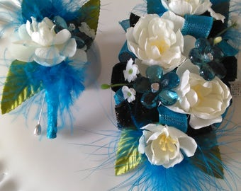 White and Blue Pear Blossom Feather Wrist Corsage and Bout Set