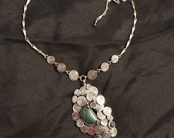 Chyrsocolla stone chakra healing necklace