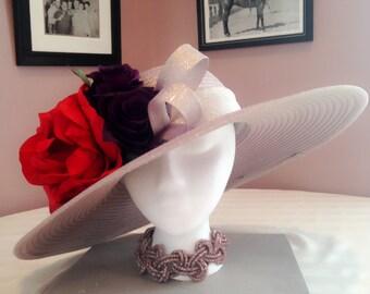 Royal Ascot Hat, Party hat, Picnic Hat, Mother's Day Hat ,Pink gold derby hats, designer hat,church hat, Easter hat