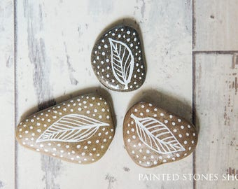 White Leaf Painted Boho Beach Stones, Pebbles Art, Boho Home decor, Collectible Stones, Shabby chic pebbles, Rustic House decor
