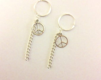 G Dragon Inspired Hoop Peace Sign Chain Earrings