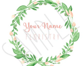 Pre Made Floral Wreath Logo - Floral Wreath