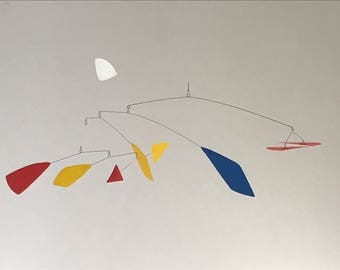 Hand-Painted Alexander Calder Inspired Mid-Century Modern Abstract Kinetic Mobile Sculpture #12