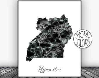 Uganda Print, Travel Map, Uganda Map Print, Travel Decor, Travel Prints, Living Room Wall Art Prints, Office Pictures, ArtPrintsZoe